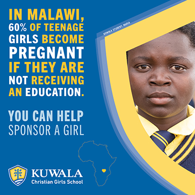 Image of social media post. Message reads, In Malawi 60% of teenage girls become pregnant if they are not receiving an education.