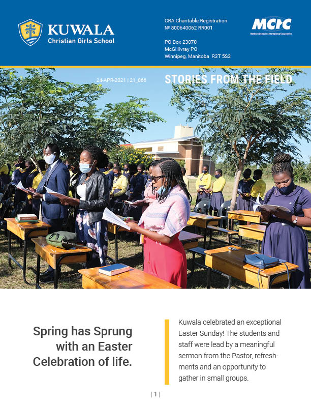 Image is the front cover of the April 2021 newsletter