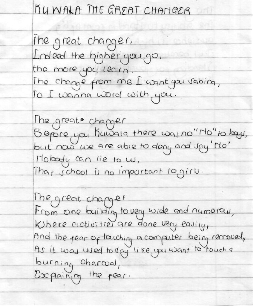 Image of Sabina's handwritten poem.
