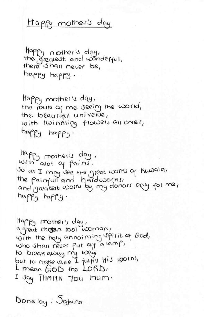 Mother's day poem by Sabina.