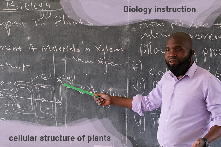 McSensio Raphael the head teacher at Kuwala instructing students on the cellular structure of plants.